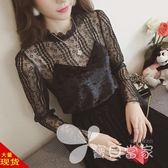 小衫女2018春季新款性感黑色假兩件蕾絲網紗打底衫女長袖超仙上衣