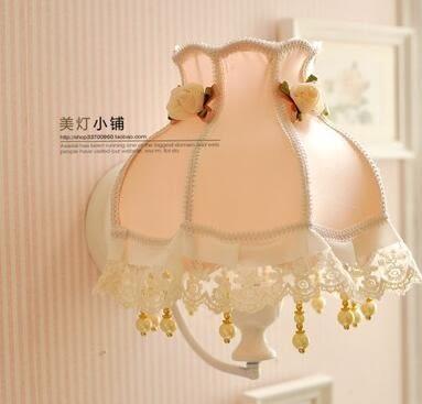 設計師美術精品館壁燈 歐式 田園壁燈 布藝壁燈 蕾絲壁燈 粉色公主 床頭燈 臥室