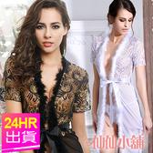 性感罩衫 白/黑 羽毛邊薄紗蕾絲 性感日系長版罩衫睡衣睡袍 仙仙小舖