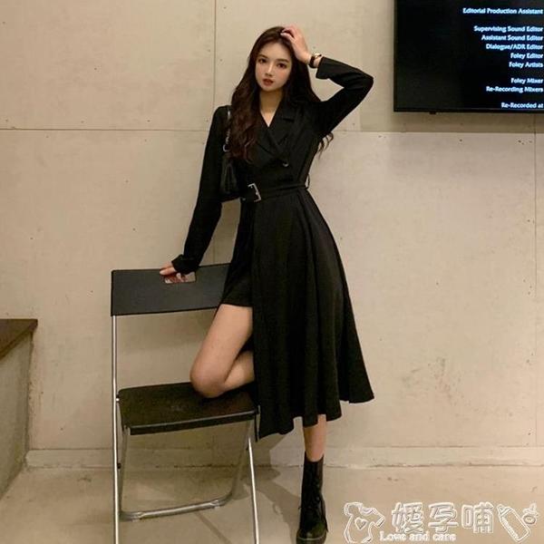 西裝連身裙春秋季西裝連身裙2021新款性感氣質長裙長袖小黑裙收腰顯瘦裙子女 嬡孕哺 上新 新品