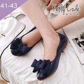 大尺碼女鞋-凱莉密碼-秋冬新色漆皮緞帶蝴蝶結蛋捲平底鞋娃娃鞋1cm(41-43)【GL728-8】寶藍