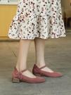 低跟鞋 天單鞋女百搭法式小方跟磨砂皮仙女風中低跟一字扣淺口單鞋