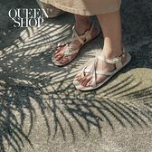 Queen Shop【05030209】質感皮質細帶交叉涼鞋 三色售 36-40*現+預*
