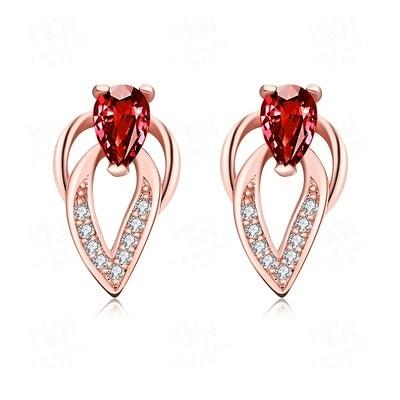 耳環 玫瑰金純銀 鑲鑽-璀璨豔麗高貴大方生日情人節禮物女飾品3色73bu25【時尚巴黎】