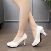 高跟鞋舒適正裝禮儀職業女鞋學生面試黑色高跟鞋中跟空乘工作鞋女【全館免運八五折】
