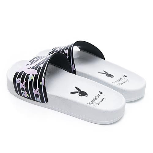 PLAYBOY 花卉繽紛 橫紋休閒拖鞋-白黑