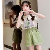 女童短袖t恤2021新款夏季純棉大童套裝洋氣6兒童裝半袖12女孩夏裝 美眉新品