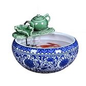 招財風水輪流水擺件噴泉客廳裝飾品禮品辦公室陶瓷魚缸工藝品 MKS快速出貨