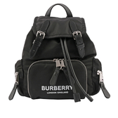 【BURBERRY】The Rucksack 標誌印花尼龍小型軍旅背包(黑色) 8017163 A1189