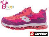 LOTTO女童運動鞋 輕量氣墊 透氣網布 慢跑鞋L8648#粉橘◆OSOME奧森童鞋/小朋友