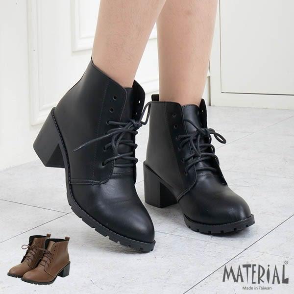 短靴 簡約素面綁帶短靴 MA女鞋 T5619
