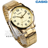 CASIO卡西歐 MTP-V001G-9B 簡約數字 指針男錶 不銹鋼 防水錶 金色 MTP-V001G-9BUDF
