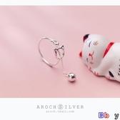 Bbay s925銀貓咪戒指女韓版小清新有響聲鈴鐺小貓開口戒指指環