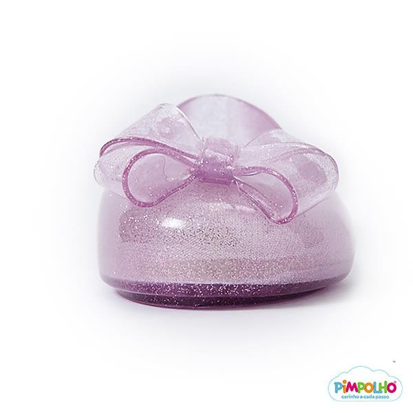 PIMPOLHO 艾莎蝴蝶結娃娃鞋-童-透明粉
