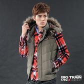 Big Train 男用配布折帽背心-深綠-B4010146