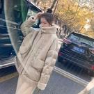羊羔毛外套 羊羔毛拼接羽絨棉服女短款冬季新款小棉襖正韓寬鬆棉衣外套潮-Ballet朵朵