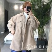 2018新款冬季韓版中長款寬松加厚仿羊羔毛翻領棉衣棉服外套學生女