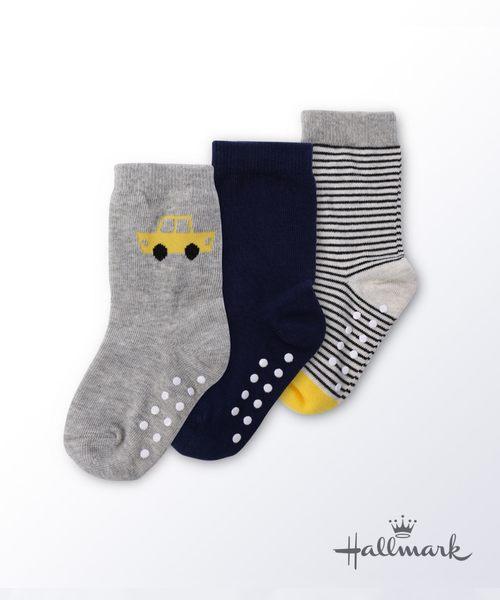 Hallmark Babies小汽車男童棉線百搭中筒襪子三件裝HG3-R07-C2-CB-NG