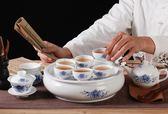 整套功夫普洱茶具家用蓋碗茶杯小型茶具茶壺套裝簡約陶瓷茶盤
