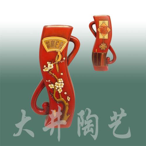 陶藝陶瓷工藝品擺設擺件輕舞*喜上眉梢花瓶裝飾品