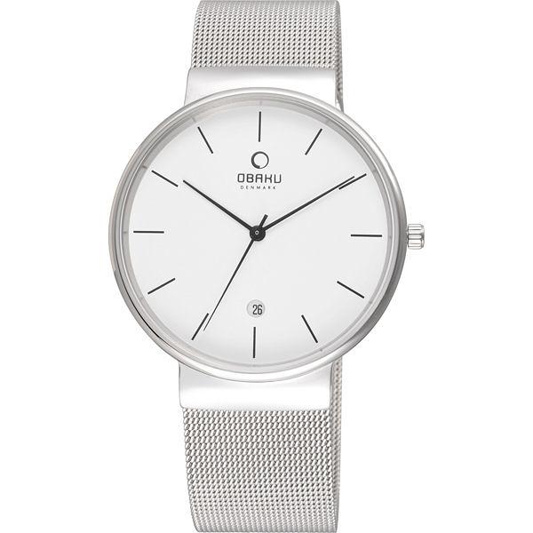 OBAKU 純粹經典三針日期時尚米蘭腕錶-銀x白