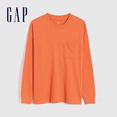 Gap男裝 碳素軟磨系列 超寬鬆長袖T恤 742762-橘色