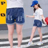 短褲 女童夏裝牛仔短褲外穿 中大童韓版兒童百搭童褲女寶寶寬鬆牛仔褲 艾美時尚衣櫥