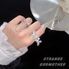 鋯石蝴蝶戒指立體時尚個性指環開口酷【時尚大衣櫥】