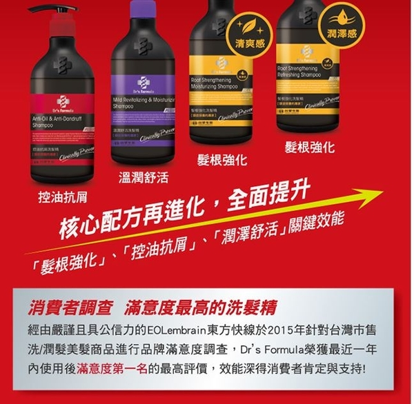 《台塑生醫》Dr's Formula溫潤舒活洗髮精(升級版)580g*3入