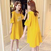 孕婦裝短袖T恤韓版中長款寬鬆上衣懷孕期裝孕婦裝連身裙 野外之家