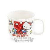 〔小禮堂〕Hello Kitty 日製陶瓷馬克杯《白.點點.溜冰.200ml》日本金正陶瓷.70年代系列 4964412-33722