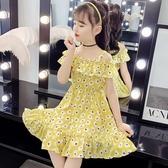女童洋裝 女童夏裝連身裙碎花大童裝小女孩洋氣雪紡公主裙兒童裙子-Ballet朵朵