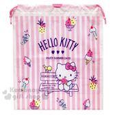 〔小禮堂〕Hello Kitty 防水束口提袋《粉白.木椅》鞋袋.收納袋.縮口袋.游泳袋 4901610-18908