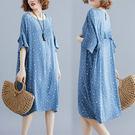 好品質大碼女裝短袖洋裝連身裙2708大碼女裝胖mm200斤寬松休閑雪紡口袋連身裙ZL709朵維思
