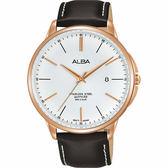 ALBA 雅柏 城市系列時尚手錶-銀x咖啡色錶帶/42mm VJ42-X267J(AS9H36X1)