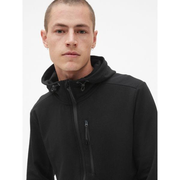 GapFit男裝 運動連帽男士休閒上衣 透氣長袖開襟外套男 395747-正黑色