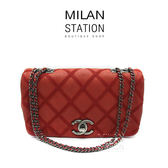 【台中米蘭站】CHANEL 紅色 水晶牛皮 粗縫線 仿舊霧黑鏈 掀蓋 兩用包