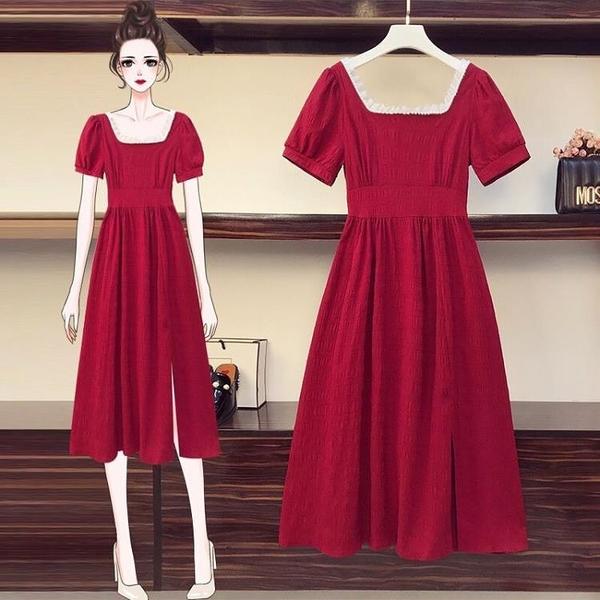 訂婚洋裝裙子平時可穿紅色新娘回門便裝敬酒服2021新款洋裝夏季 幸福第一站