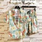 冰絲套裝男速干夏季短袖襯衫潮流大碼花色沙灘短褲情侶搭配兩件套 小艾新品