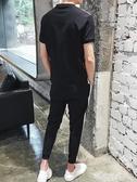夏季短袖t恤套裝男士2020新款夏裝休閒運動男裝潮流半袖一套『潮流世家』