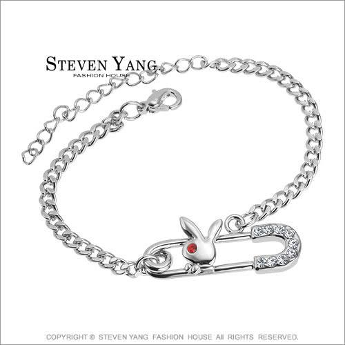 手鍊STEVEN YANG 正白K飾 可愛小兔迴紋針