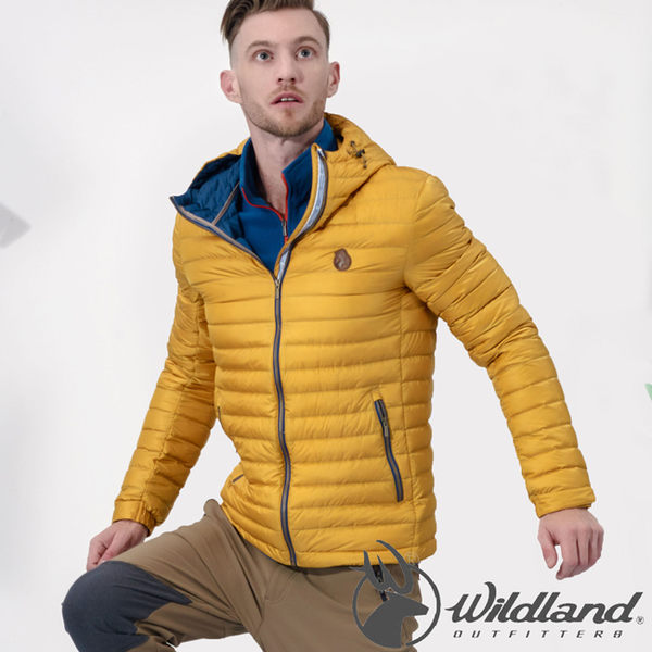 Wildland 荒野 0A32112-33駱黃色 男 700FP連帽輕羽絨外套