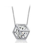 項鍊+925純銀 鑲鑽吊墜-立體方形生日情人節禮物女飾品2色73gu17【時尚巴黎】