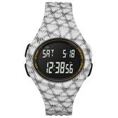 adidas 潮流曲線數位電子腕錶-白黑網格