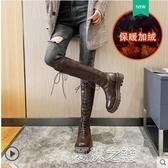長筒靴女 過膝長靴女秋冬季新款厚底高筒顯瘦加絨百搭棕色騎士長筒靴子 快速出貨