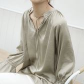 實品拍緞面立領綁帶上衣氣質泡泡縮口袖[C7051]預購滿額送愛康衛生棉.朵曼堤洋行