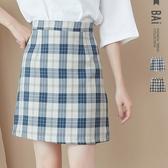 褲裙 配色格紋顯瘦車線後拉鍊A字短裙M-L號-BAi白媽媽【301730】