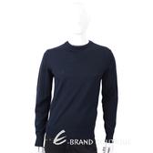 TRUSSARDI 混色領口細節深藍針織羊毛衫1710635-34