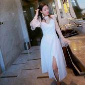 長洋裝名媛氣質修身蕾絲拼接喇叭袖洋裝白色聚會生日派對洋裝小禮服 一件免運