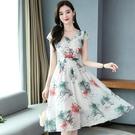 雪紡洋裝 短袖連身裙2021夏新款貴夫人遮肚子顯瘦洋氣35一45女裝時尚碎花裙 8號店